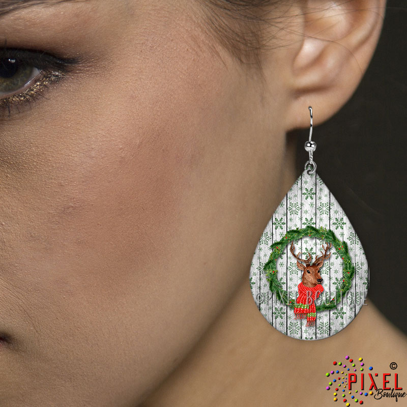 Deer in Wreath Teardrop Large earring on Model