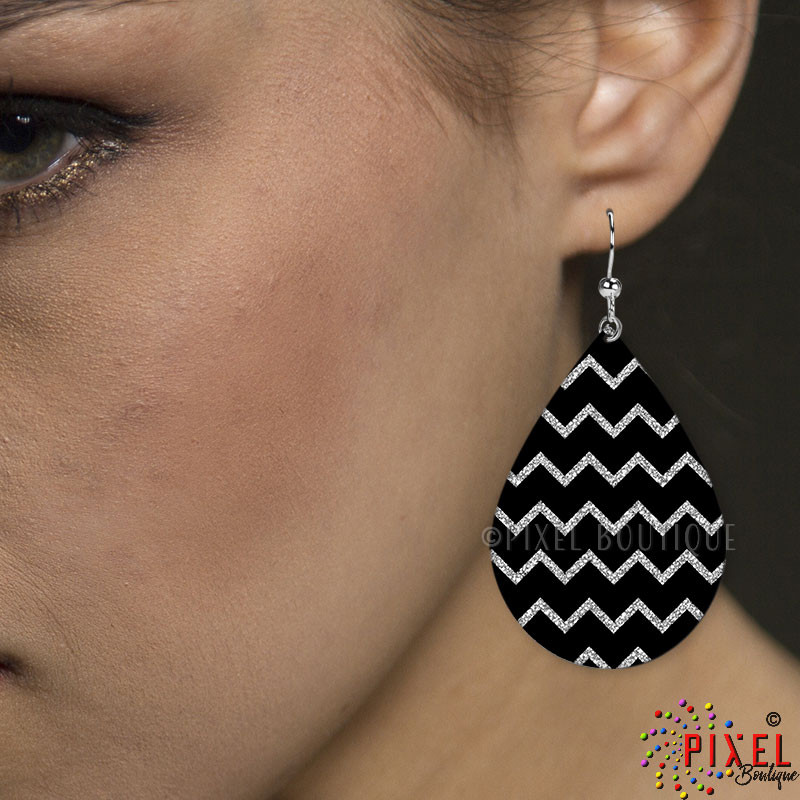 Silver Glitter Chevron Earring Large earring on Model