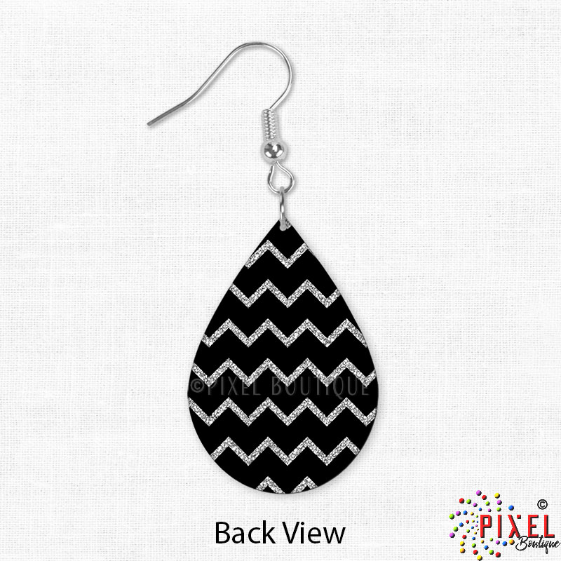 Silver Glitter Chevron Earring back view