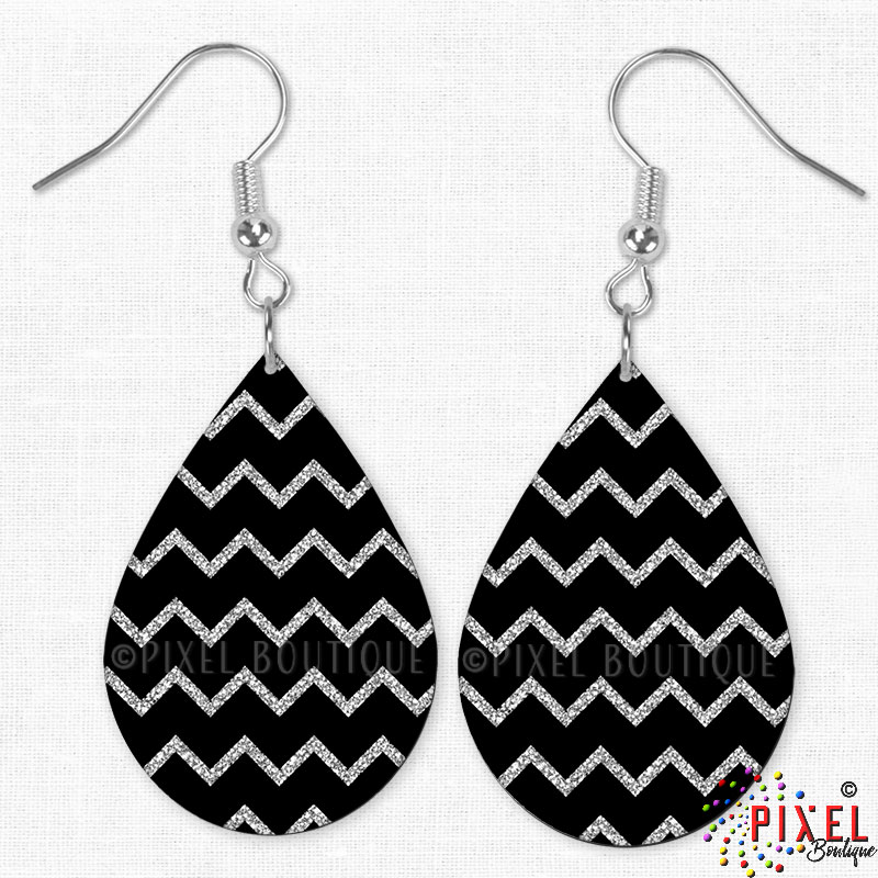Silver Glitter Chevron Earrings