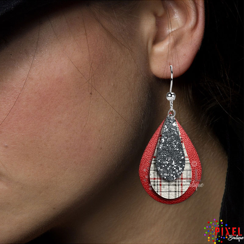 Christmas Plaid Showing LG earring on model