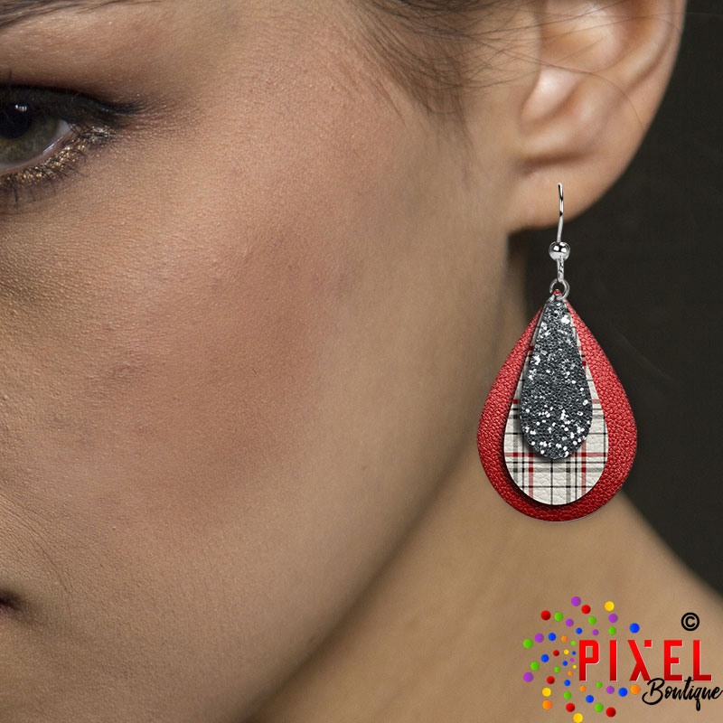 Christmas Plaid Showing SM earring on model