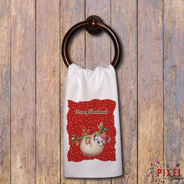 Christmas-Sloth-towel-on-towel-ring