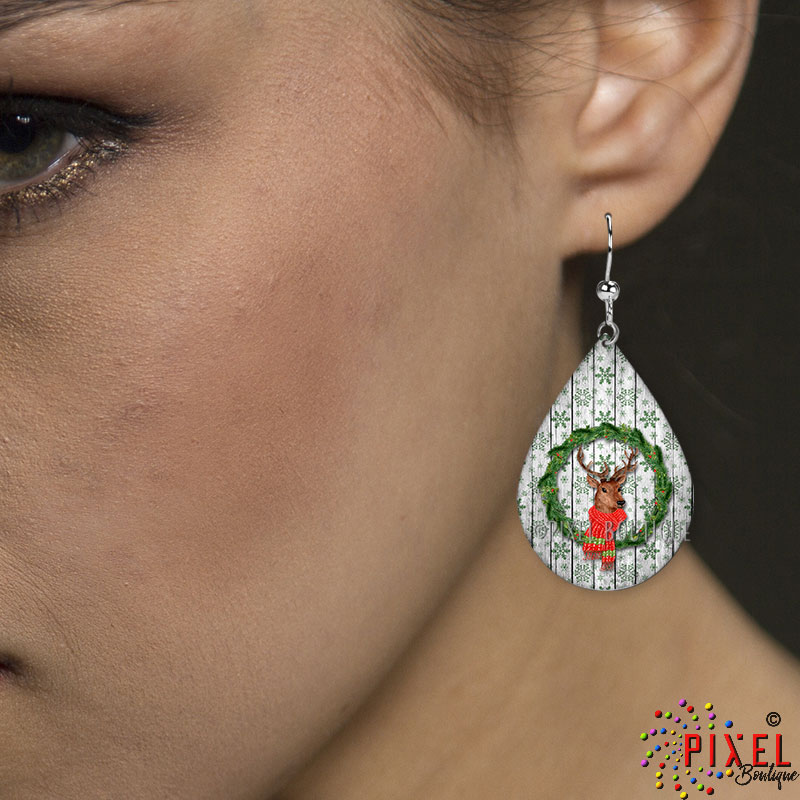 Deer in Wreath Teardrop Small earring on Model