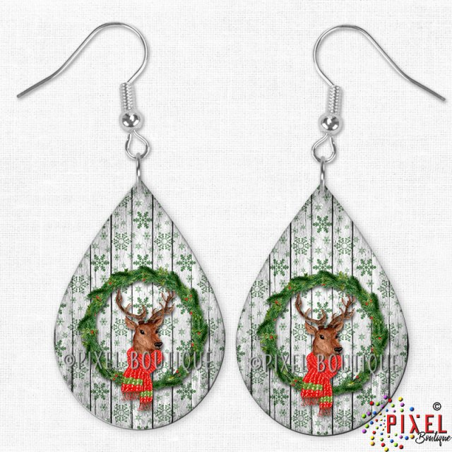 Deer in Wreath Teardrop earrings
