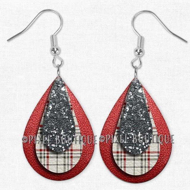 Christmas Plaid Front Large Earrings