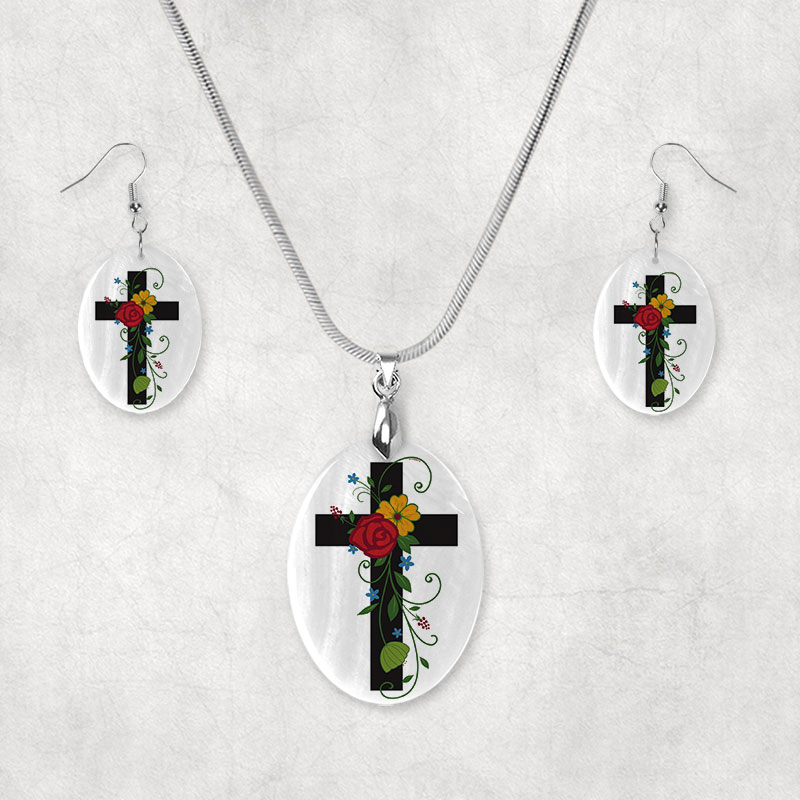 Earring Set with Bright floral Cross