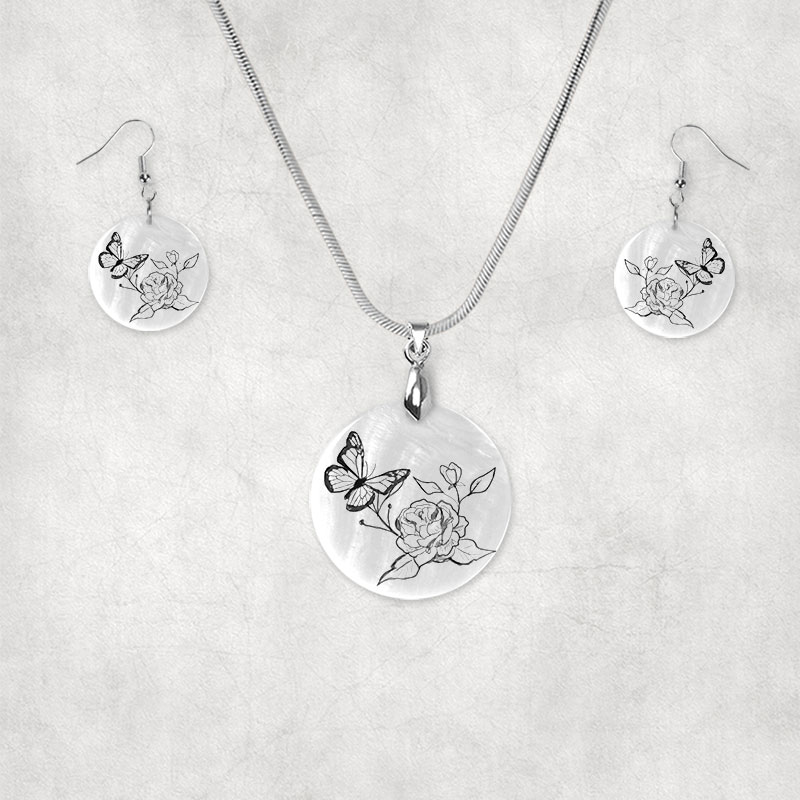 Butterfly and Rose Earring Set