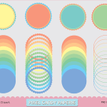 Free Scalloped Digital Frames Colored Clip Art Set No. 2