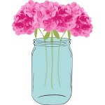 Floral Vector with Mason Jar Clip Art