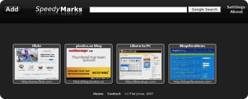 Captura de pantalla de SpeedMark configurada con el acceso a 4 páginas de inicio.