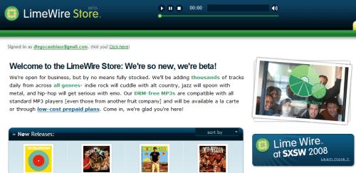 Captura de la pantalla principal de LimeWire Store