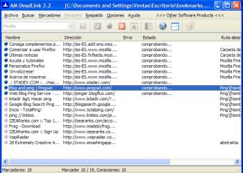 AM-DeadLink - Progrmaa gratis para comprobar marcadores, captura de pantalla
