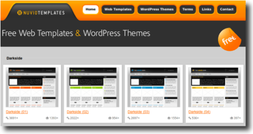 Pantalla pincipal de Nuvio Templates un sitio con platillas (templates gratis para webs y WordPress
