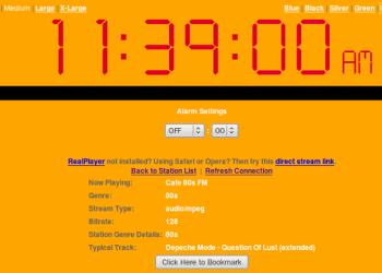Online Clock Radio - Interfaz