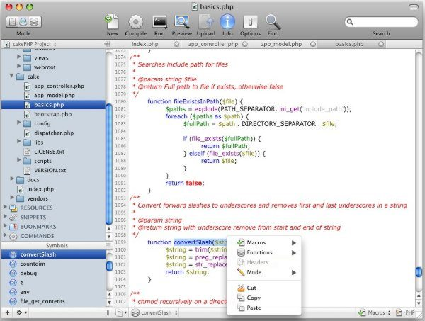 WebScripter IDE - Interfaz