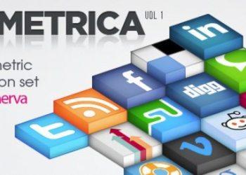 Isometrica social icons set