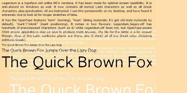 Legendum free font