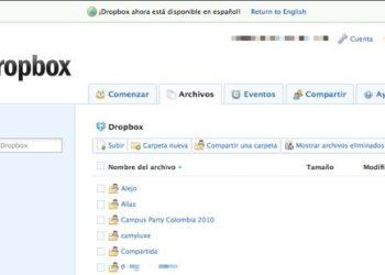 DropBox interfaz web