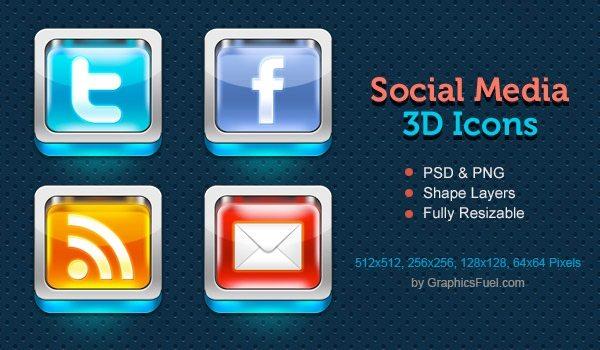 Social Media 3D Icons - colección de íconos