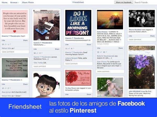 Friendsheet las fotos de los amigos de Facebook al estilo Pinterest