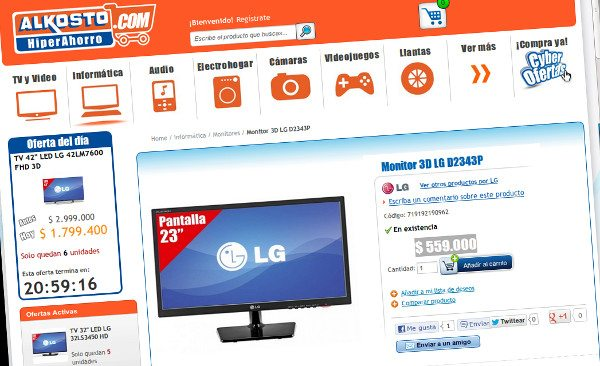 Monitor LG 3D D2343P