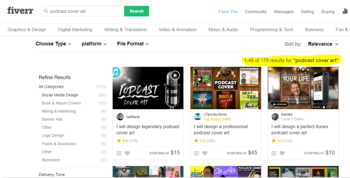 Fiverr Podcast cover art gigs search results.