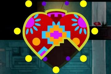 Ein Herzcontainer in Guacamelee, der aus drei Einzelteilen zusammengesetzt werden kann.
