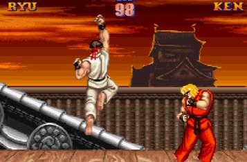 """Ryu mit einem typischen Dragon Punch (in """"Street Fighter 2"""")."""