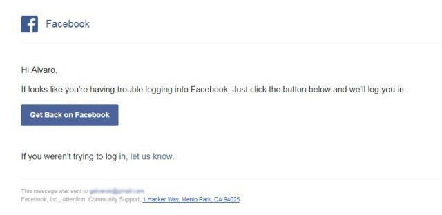 Get back on Facebook message