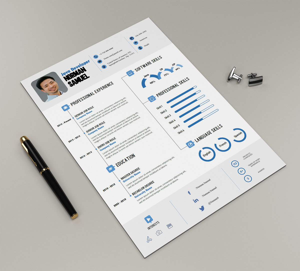 free docx infographic resume template