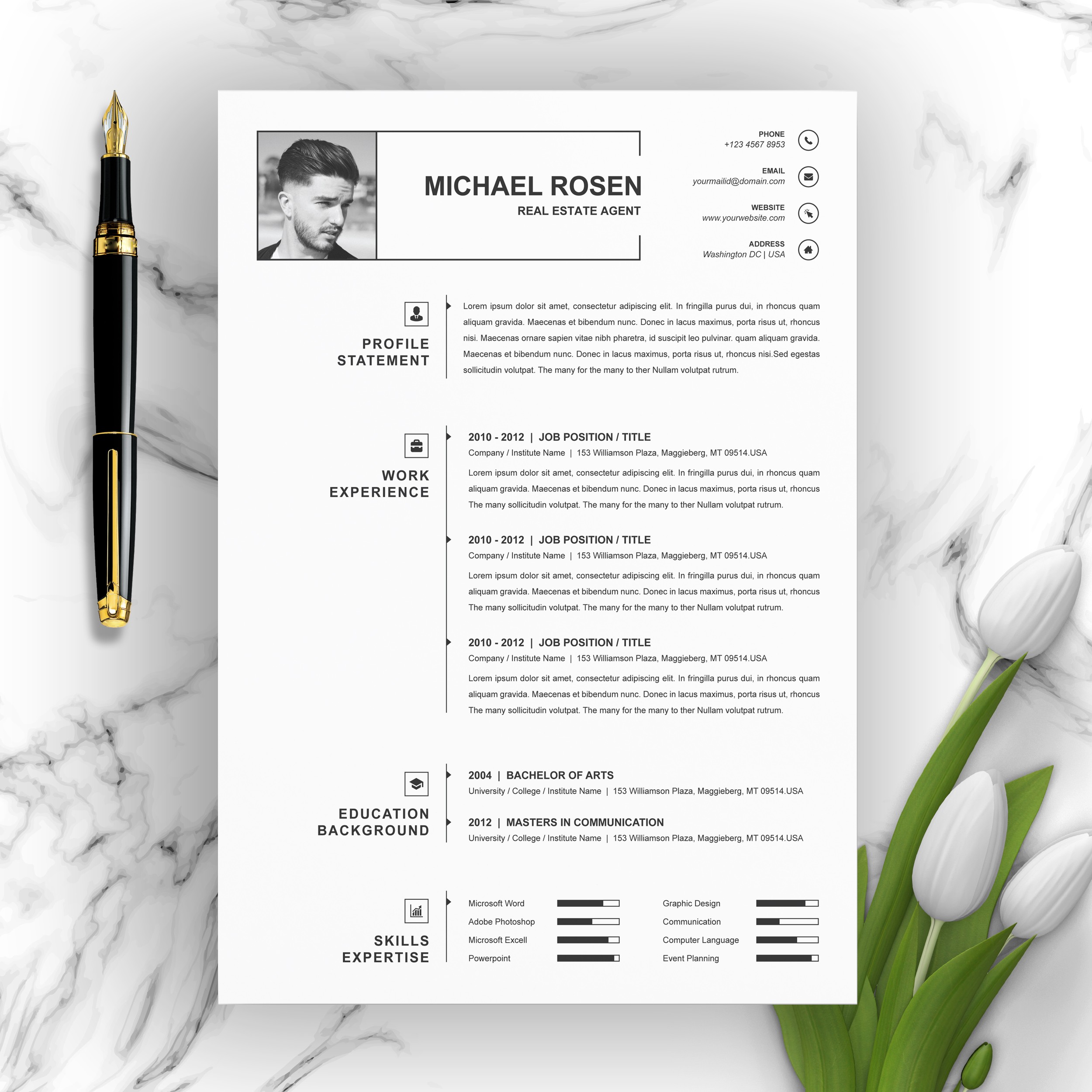 Here are some resume templates in apple pages you can download for free! One Page Clean Resume Cv Template Free Resumes Templates Pixelify Net