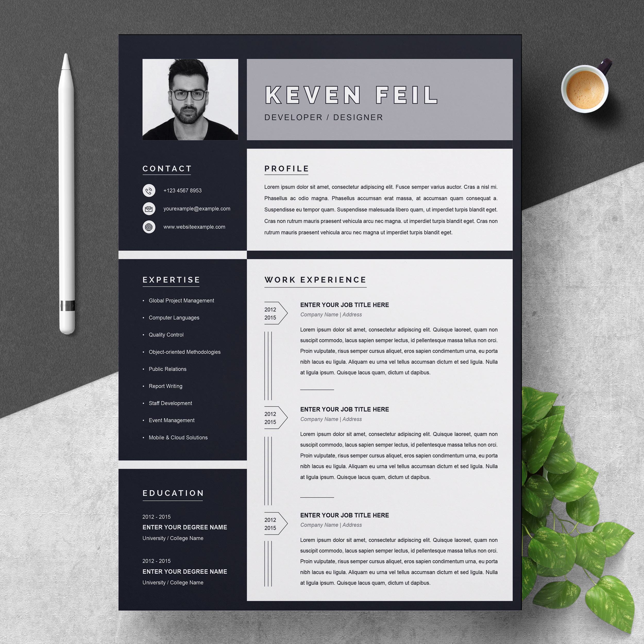 black and white resume template free download