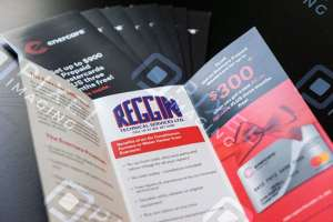 Custom-printed company advertising flyers