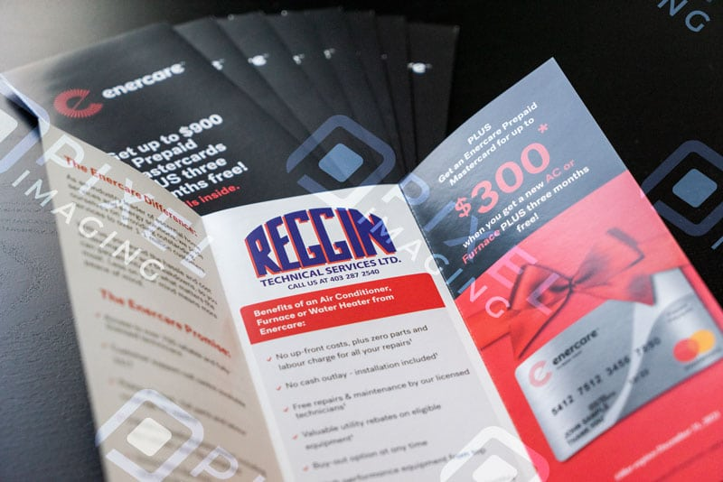 Custom-printed company advertising flyers