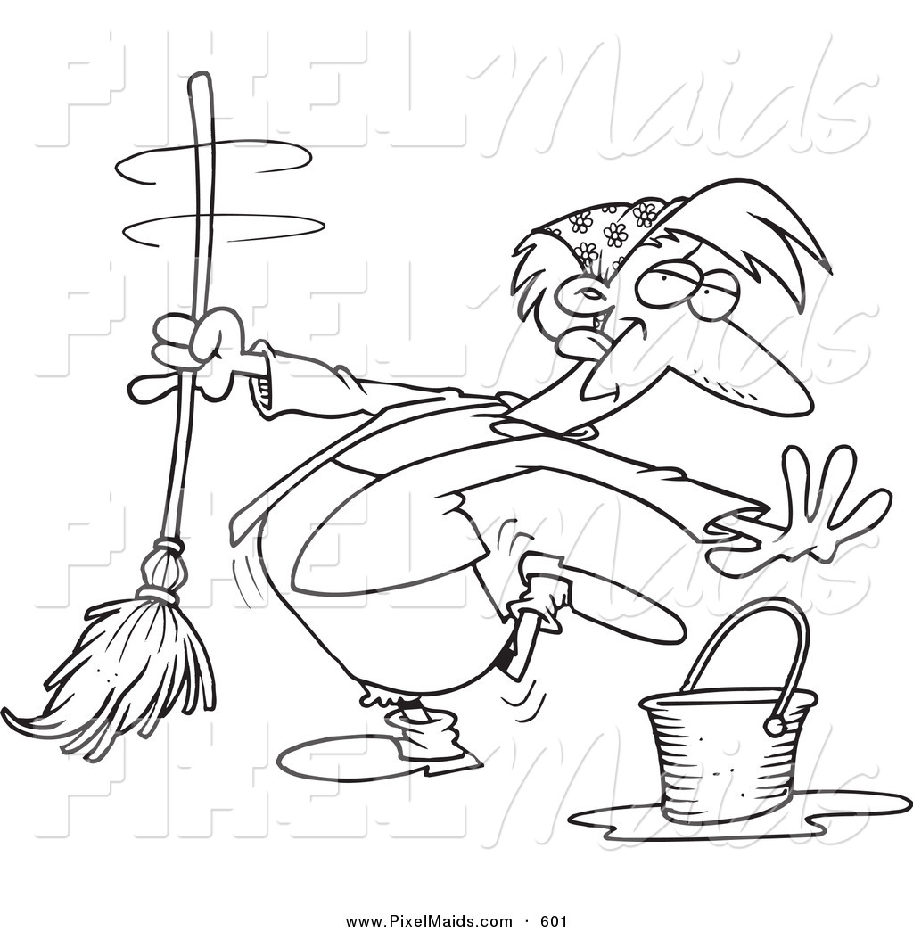 Clipart of a Cartoon Black and White Coloring Page Outline