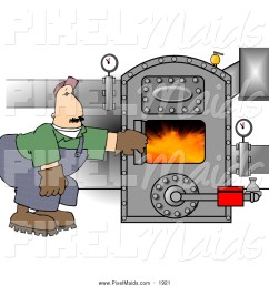 clipart of a caucasian man working on a hot boiler with valves [ 1024 x 1044 Pixel ]