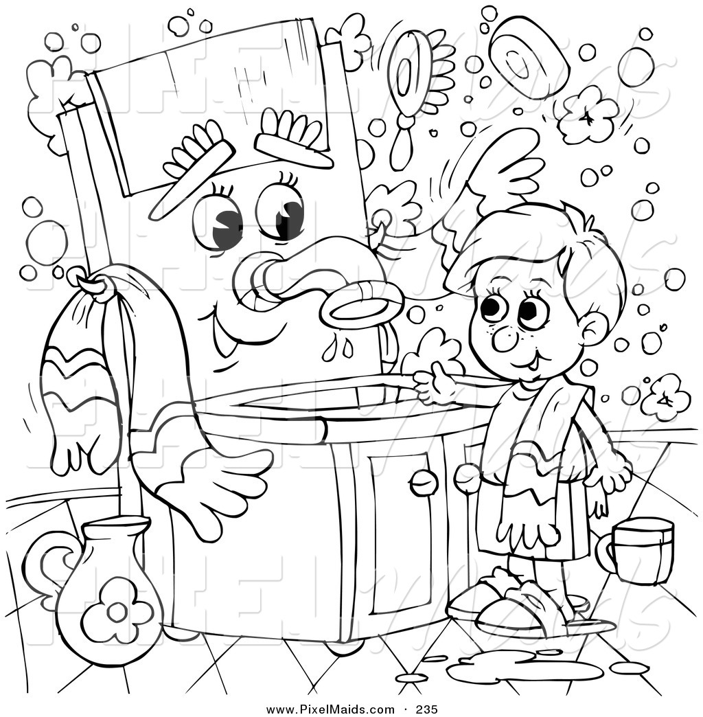 Clipart Of A Coloring Page Outline Design Of A Boy Talking To A Sink By Alex Bannykh