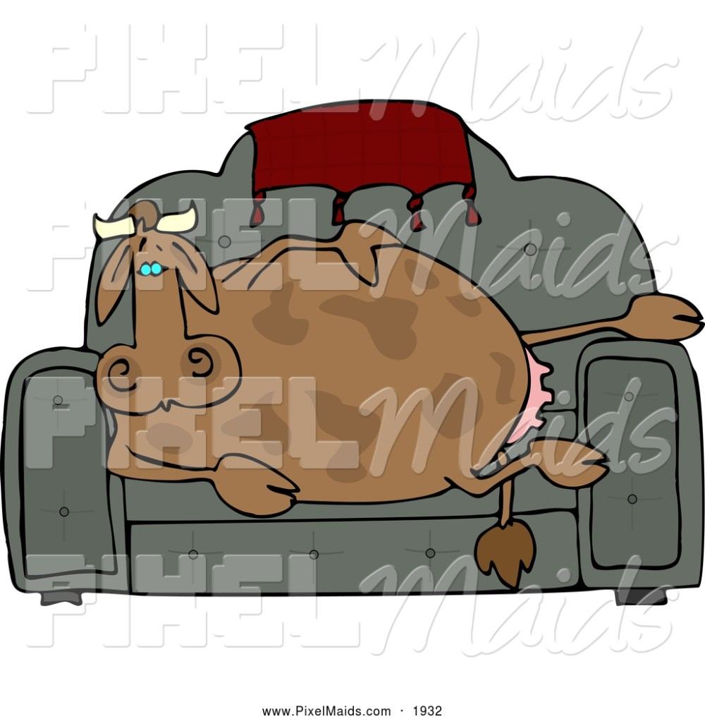 medium resolution of clipart of a couch potato cow resting