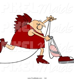 clipart of a cupid in red vacuuming the floor [ 1024 x 1044 Pixel ]