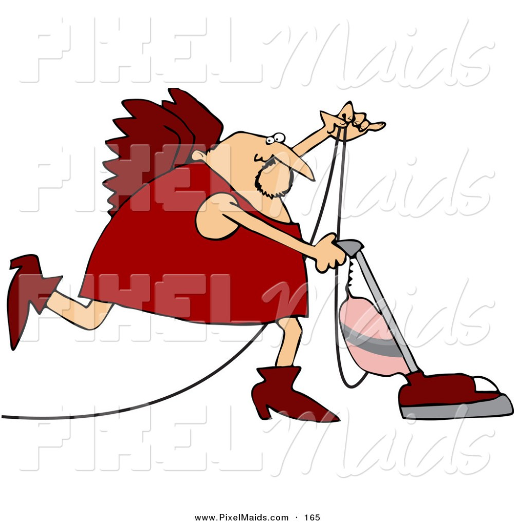 medium resolution of clipart of a cupid in red vacuuming the floor