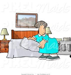 clipart of a female housekeeper making a hotel bed [ 1024 x 1044 Pixel ]