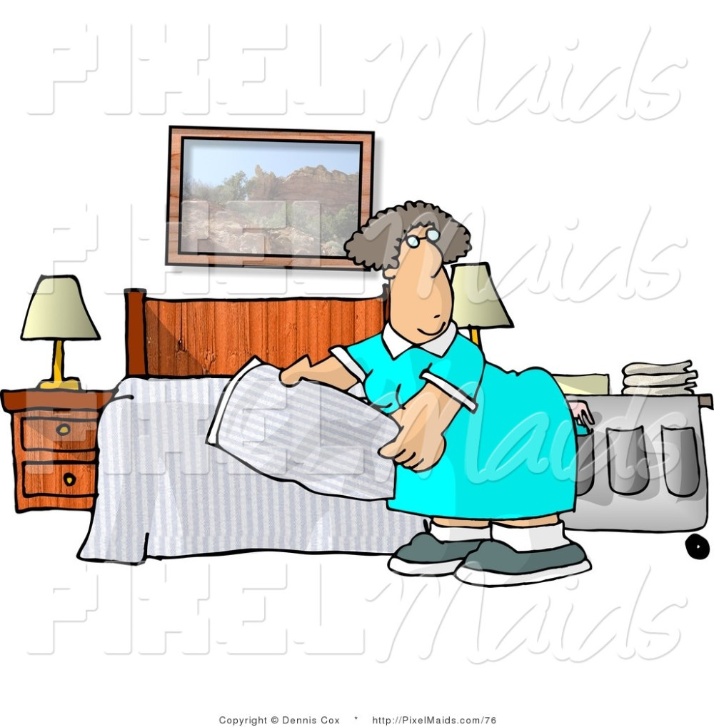 medium resolution of clipart of a female housekeeper making a hotel bed