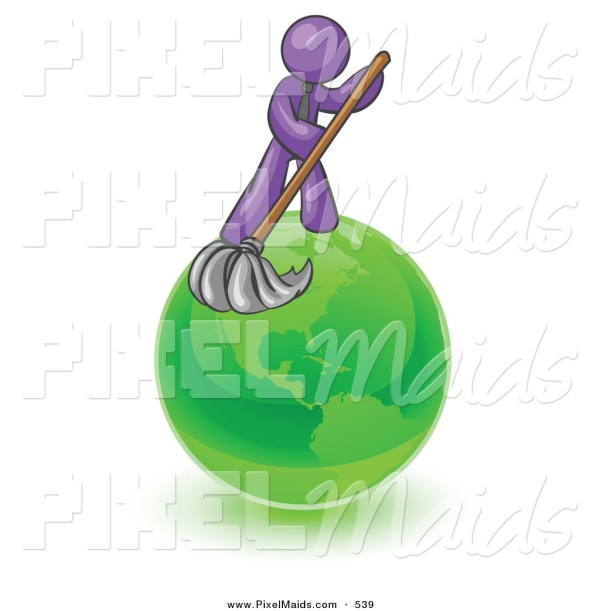 Clipart Of Shiny Purple Man Wet Mop With Green
