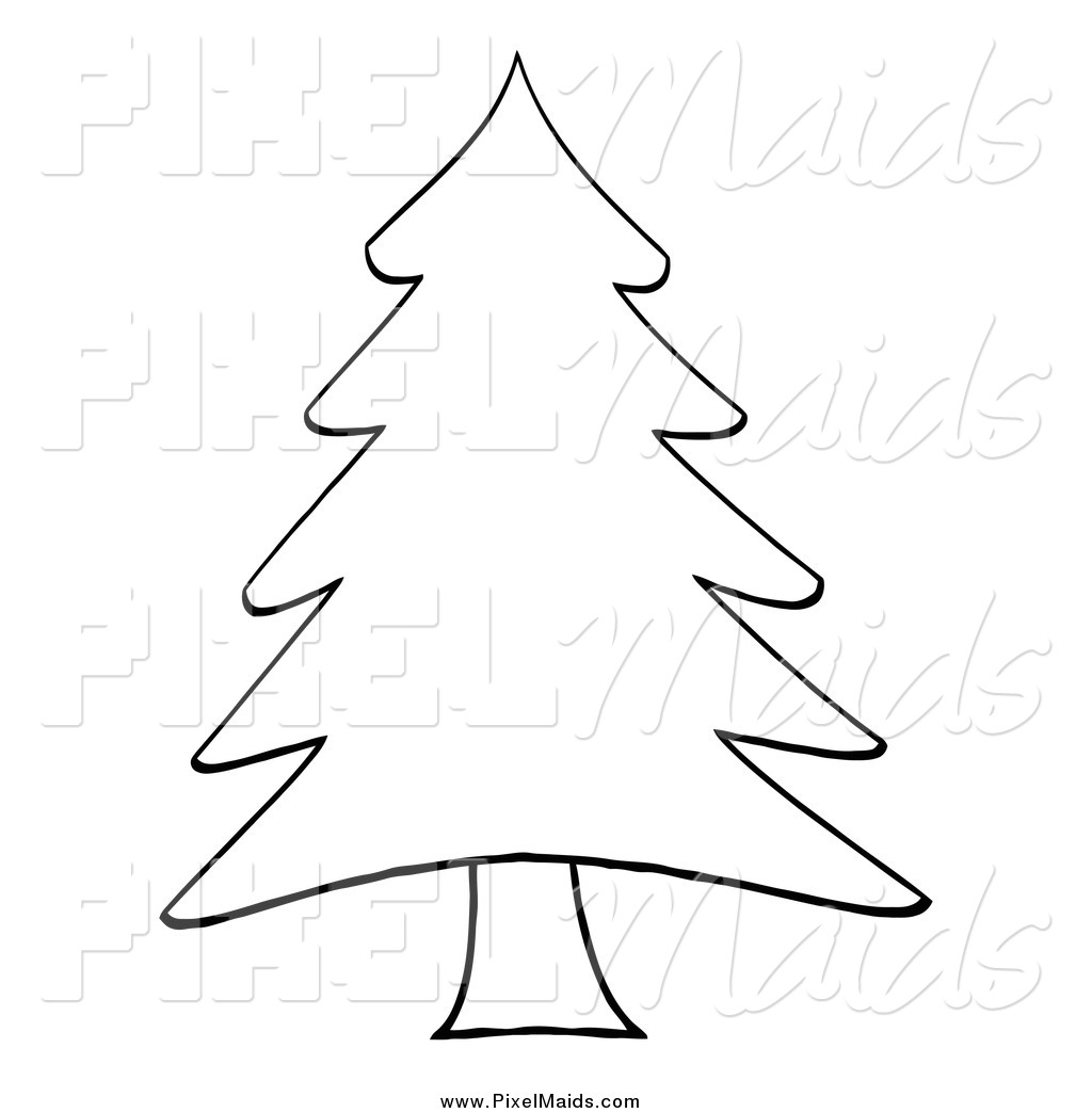 Clipart Of A Sketched Outlined Pine Tree By Hit Toon