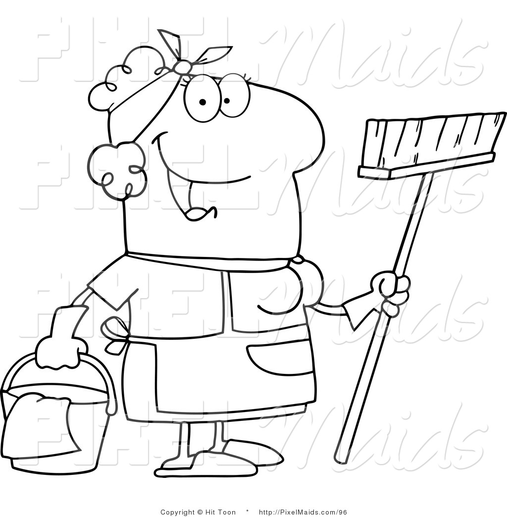 Clipart of an Outlined Friendly Maid Coloring Page by Hit