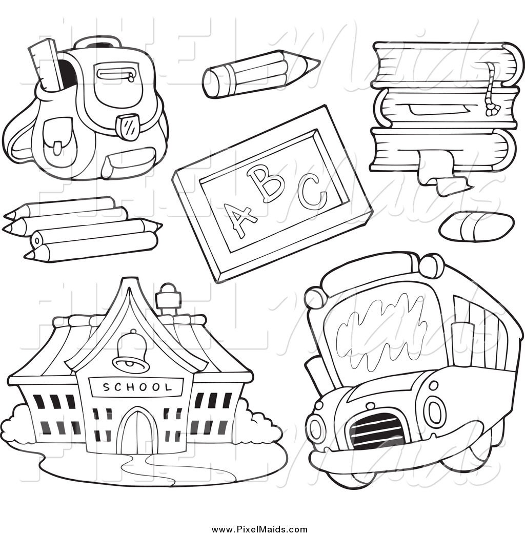 Clipart Of Black And White School Items A Bus And Building