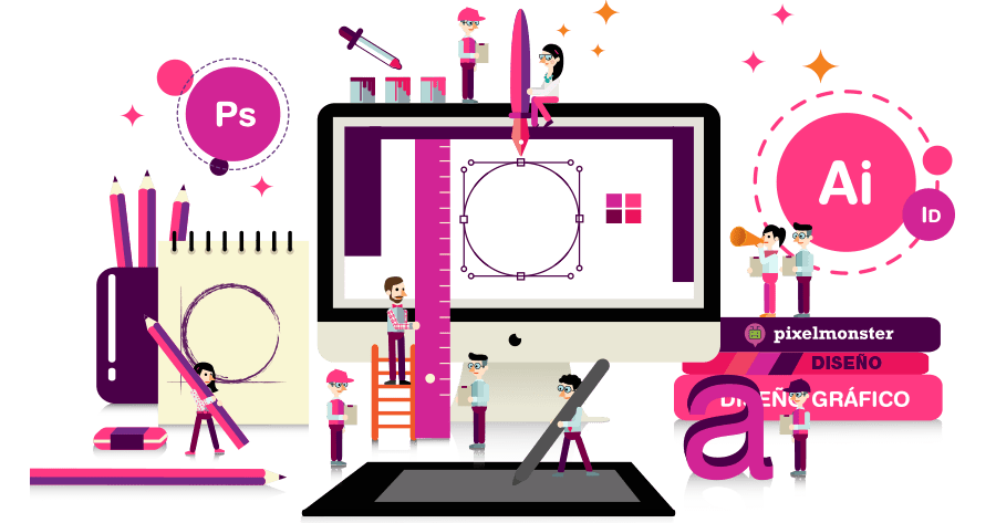 Dise o gr fico pixel monster studio for Imagenes de oficinas de diseno
