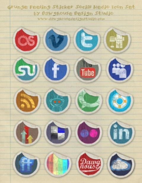 dawghouse-icon-set grundge paper social media