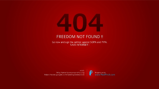404 b Freedom Not Found Say No To SOPA 1350x760 PixelPinch